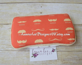 READY TO SHIP Rustic Red and Craem Mustache Styles, Baby Wipe Case, Travel Wipe Case, Personalized Case, Diaper Wipe Case, Wipe Holder, Gift