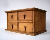 Vintage Small Wood Cabinet with 4 Drawers / Storage Organization / Drawer Cabinet / Jewelry Box / Doo Dads and What Not Storage / 4 Drawers