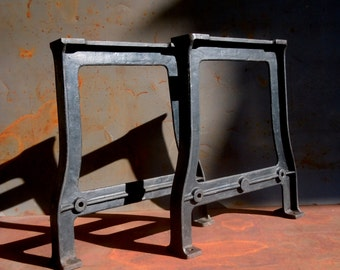 Vintage Industrial Table Legs / PAIR / Set of 2 / Steel Iron / Factory Machine Tool Legs / Desk Legs / Work Bench / Original Black Paint