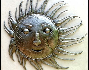 "Metal Sun Wall Hanging, 34"" Haitian Art, Recycled Steel Drum Art, Metal Wall Art,  Metal Art, Outdoor Garden Art, Metal Wall Decor - 9003-34"