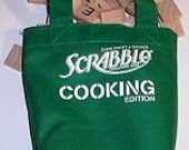 Scrabble COOKING 100 WOOD Letter Tiles from Vintage Game in Green Material Miniature Shopping Bag a b c 's