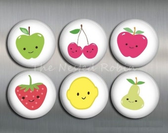 FRUIT MAGNETS with gift pouch - Set of 6 magnets - choose your size