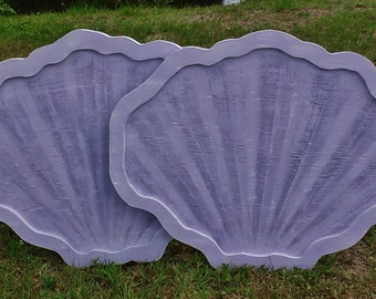 Set Of TWO Clam Shell Twin Headboards, Sea Shell Wall Art, Tropical Wall Hanging