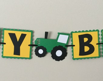 Small Green Tractor Birthday Banner Farm Tractor