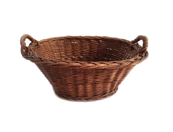 Tiny Wicker Basket With Handle : Vintage oval small wicker laundry basket with handles