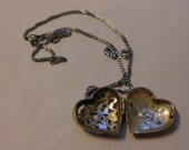 "Filigree Silver Heart Shaped Locket with 18"" Chain. vintage"