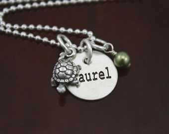 My Petite Turtle Initial Necklace - Sterling Silver Turtle Tortoise Necklace