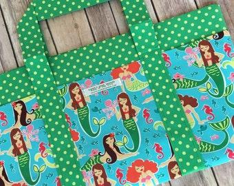 Six Pocket Tote Bag in Mermaid Designer Print