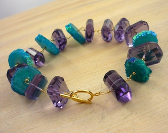 Chunky turquoise solar quartz and purple quartz statement bracelet