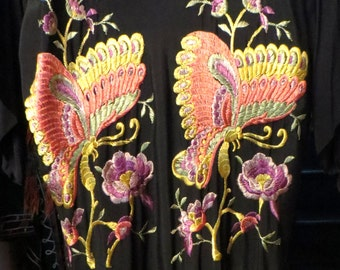 Stunning 40s Embroidered Butterfly Robe with Fringe