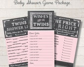 Chalkboard Twin Girls Game Package Set Pink Printable Baby Shower Games Wishes for Baby Game Price is Right Baby Mad Libs - INSTANT DOWNLOAD