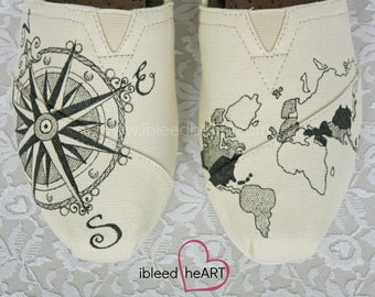Travel Compass and World Map TOMS Shoes in Black - Custom Painted - Personalized Shoes - Adventure - Wanderlust - Globetrotter