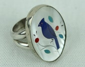 vintage old pawn BIRD ring • zuni inlaid shell sterling oversized ring