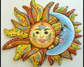 Painted Metal Wall Hanging, Sun - Moon - Funky Art, Metal Wall Art, Metal Art Design, Haitian Art, Garden -Metal Wall Art  - J-150