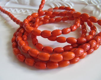 8mm Imitation Turquoise Barrel Beads in Orange, 8mm x 5mm, 1 Strand, 15 Inches, 48 Pieces, Oval, Drum