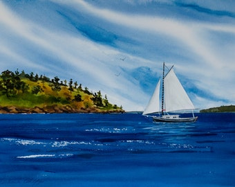 Simplicity, Spieden Island, Watercolor, Giclée print, Orcas Island, San Juan Islands, Pacific Northwest, sailboat
