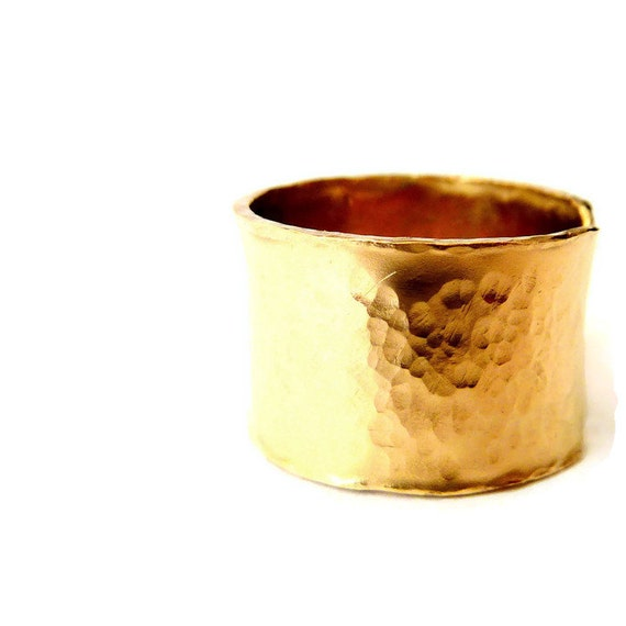 Gold Wide Ring, Statement Band Ring, Cigar Band Ring, Textured Ring, Unisex Ring, Urban Look Ring, Custom Engraving Option, Venexia Jewelry