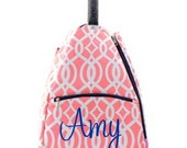 Coral and White Vine with Navy Trim design Tennis bag tote Backpack style Personalized for FREE