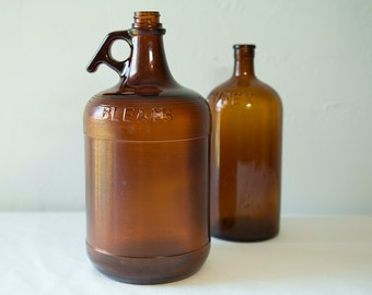 Vintage 1950s Purex Glass Bottle and Rare Bleach Glass Gallon Jug - Amber Brown