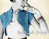 Vintage Crochet Pattern 1950s Cutaway Bolero Lacy Shrug Hairpin Lace Loom Digital Download PDF