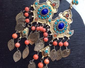 Vintage uzbek earrings silver dangle gold coral asian kuchi nomad pashtun agate