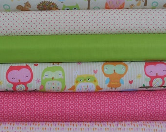 Owl & Co. Cream 6 Fat Quarters Bundle by RBD Designers for Riley Blake, 1 1/2 yards total