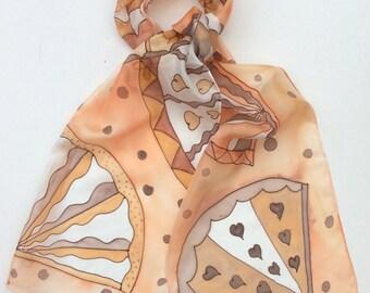 Peach Fans hand painted silk scarf.  Silk scarves. Fans Scarf