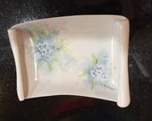Soap Dish/ Porcelain/ Hand Painted White Flowers By Gatormom13