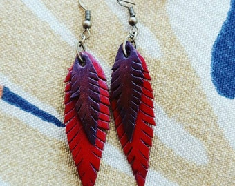 Feather Earrings Leather Feather Earrings Leather Jewelry Red Brown Leather Boho Fashion Small Leather Earrings