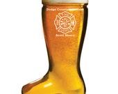 Fireman Gift, Custom engraved 1 liter Glass Beer Boot, Das Boot, Firefighter Gift, Personalized Fireman Gift, Firemen Gifts