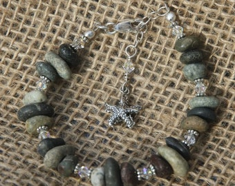 Beach Stone and Sterling Starfish Bracelet