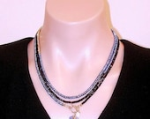 SHOP CLOSING SALE: Ashira Black Spinel, Royal Blue Pyrite Gemstone Statement Necklace with Charms