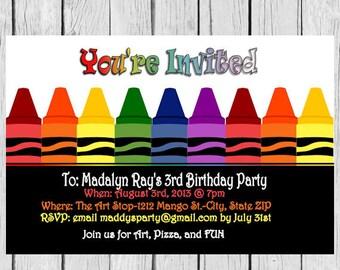Crayon Birthday Invitation, Crayon invite,Crayon Party Invitation, Crayola Crayon, Invite, Invites, crayon invites, crayon invite