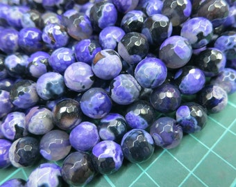 5 str (190pcs beads) -Black Purple Fire Agate 10mm Round Beads faceted