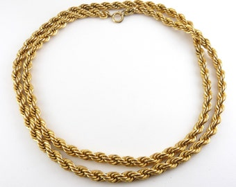 Long Gold Filled Rope Necklace Chain, 30 Inch Long -Heavy Weight