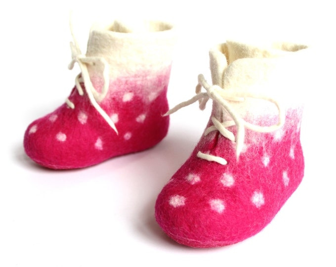 Pink Wool Baby Booties - Felted Wool Shoes - Rubber Soles - Kids Boots - Minimalist Shoes - Christening Gift - Baby Baptism - Baby Keepsake