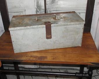 Antique Primitive Galvanized Tool Box with tray