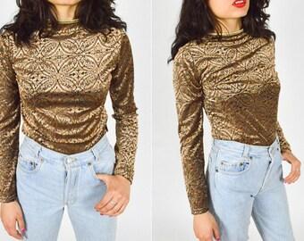 90's GOLD BRONZE Burnt Out Velvet Patterned Crop Top. Long Sleeves. Ornate. 90's GRUNGE Mod Vintage.