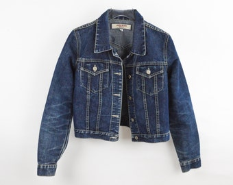 90's Cropped Fitted Denim Coat size - S/M