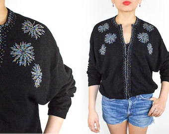 1990's BLACK BEADED Wooly CARDIGAN. Long Sleeves Slouchy knit. 90's Mod Grunge Punk Goth. size Large L
