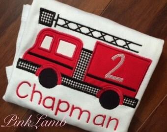 Fire Truck Applique Birthday Shirt