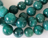 Beautiful Teal Green Veins Agate Smooth Round Beads 18mm