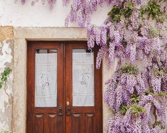 Travel Photography, Door Print,Wisteria Photograph,Lilac Flowers Photography,European Photography, Flower Photo, Romantic Travel Photograph
