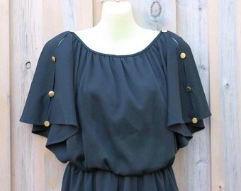 Black dress by Lady Blair gold buttons loose flutter sleeve lightweight comfortable elastic waist blousy 1970's disco open sleeves size S