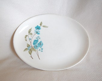 Vintage Sabin Blue Floral 13 inch Oval Serving Platter by Sabin China Sab95