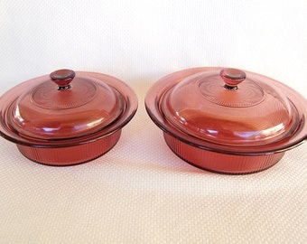 Choice of 2 Vintage Corning Cranberry Visions V-30-B And Or V-31-B Covered Round Casseroles 750 ml and 1 Liter capacities
