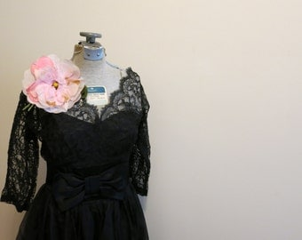 Black Lace Dress 1950s cocktail party nude illusion chiffon and satin bow M