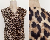40% OFF 1960's Leopard Print Faux Fur Boxy Top Vinatge Shirt Size Small Medium by Maeberry Vintage
