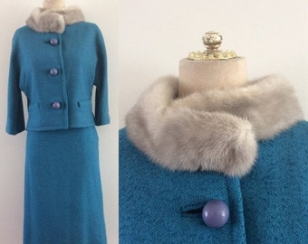 SALE 1960's Turquoise Wool Suit w/ Grey Mink Collar & Large Buttons Mad Men Vintage Suit Size XS by Maeberry Vintage