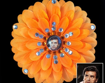 Poe Dameron Star Wars The Force Awakens Orange Penny Blossom Rhinestone Flower Barrette